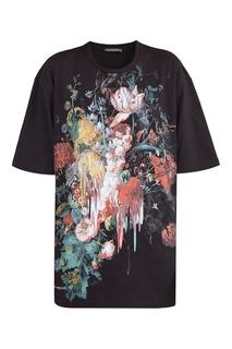 Черная футболка с принтом Alexander Mc Queen