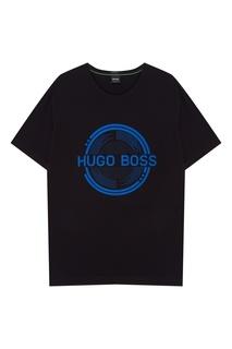 Черная футболка с логотипом Boss Green