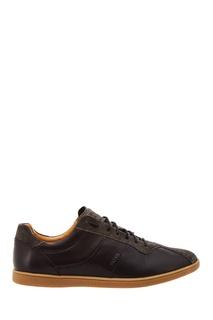 Черные кожаные кроссовки Boss Orange
