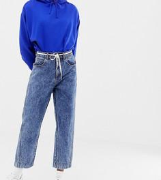 Джинсы в винтажном стиле с заниженными карманами и эффектом кислотной стирки COLLUSION - Синий