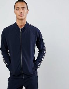 Спортивная куртка с отделкой лентой по бокам Tom Tailor - Темно-синий