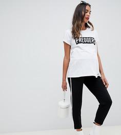 Зауженные брюки с контрастной отделкой ASOS DESIGN Maternity - Черный