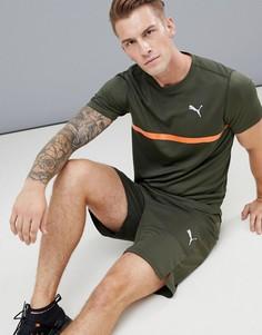 Футболка цвета хаки с принтом Puma Running 516944-05 - Зеленый