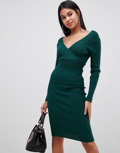 Вязаное платье миди оливкового цвета с глубоким вырезом Lipsy - Зеленый