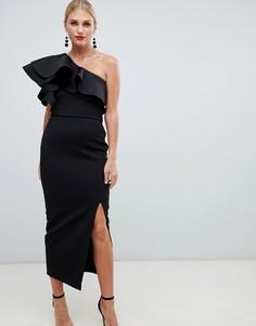 Черное облегающее платье на одно плечо с оборкой True Violet - Черный