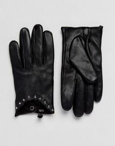 Кожаные водительские перчатки с заклепками Alice Hannah - Черный
