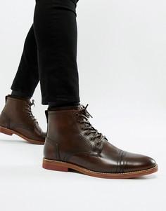 Коричневые кожаные ботинки со шнуровкой и контрастной подошвой ASOS - Коричневый
