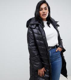 Длинное стеганое пальто с отделкой из искусственного меха Lovedrobe - Черный