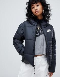 Черная дутая куртка с маленьким логотипом Nike - Черный