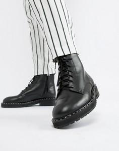 Черные кожаные массивные ботинки с люверсами Office Attention - Черный