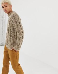 Бежевый меланжевый свитер ручной вязки ASOS DESIGN - Бежевый