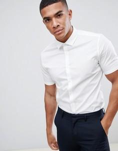 Белая эластичная приталенная рубашка с короткими рукавами ASOS DESIGN - Белый