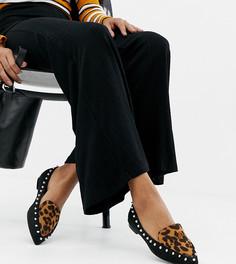Туфли для широкой стопы на плоской подошве с леопардовым принтом Lost Ink - Мульти