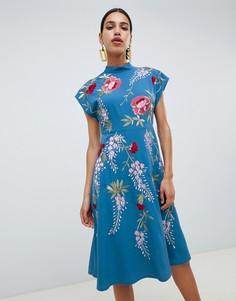 Платье миди с вышивкой розы ASOS DESIGN - Синий