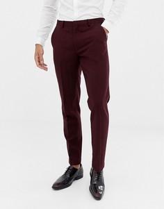 Бордовые зауженные брюки с добавлением шерсти ASOS DESIGN wedding - Красный