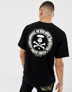 Черная футболка с камуфляжным принтом логотипа цвета металлик на спине AAPE By A Bathing Ape - Черный