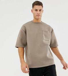 Бежевая oversize-футболка с короткими рукавами и карманом ASOS DESIGN - Коричневый