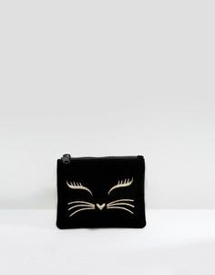Бархатный кошелек с молнией ASOS DESIGN - Черный