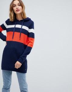 Платье-джемпер в полоску с капюшоном Esprit - Темно-синий