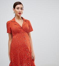 Короткое приталенное платье на пуговицах с принтом в горошек ASOS DESIGN Maternity - Мульти