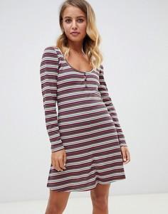 Короткое приталенное платье в полоску на пуговицах ASOS DESIGN - Мульти
