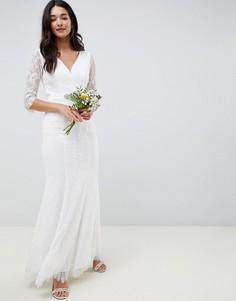 Белое платье макси с длинными рукавами и отделкой камнями Little Mistress - Кремовый