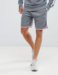 Трикотажные шорты с полосами по бокам и логотипом Diesel - Серый