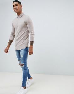 Светло-бежевая рубашка с длинными рукавами из ткани пике River Island - Светло-бежевый
