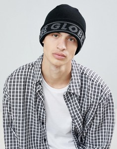 Globe Knitted Beanie With Jacquard Logo In Black - Черный