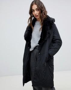 Пальто с воротником из искусственного меха Religion - Черный