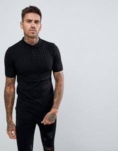 Черная футболка-поло в рубчик Gym King - Черный
