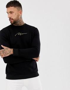 Черный свитер с золотистой вышивкой boohooMAN - Черный