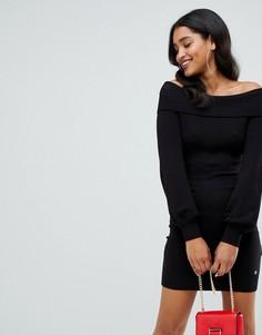 Черное платье-джемпер с открытыми плечами Lipsy - Черный