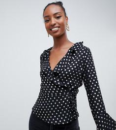 Glamorous Tall long sleeve wrap front blouse in gold spot - Черный