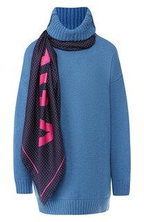 Шерстяной пуловер с высоким воротником и шарфом Balenciaga