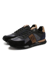 Кожаные кроссовки на шнуровке Fendi
