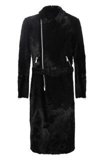 Пальто прямого кроя из меха на косой молнии с поясом Emporio Armani