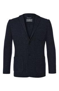 Однобортный пиджак из смеси хлопка и шерсти Capobianco