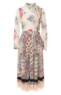 Платье-миди с принтом и воротником аскот REDVALENTINO
