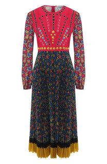 Платье-миди с принтом и декоративной отделкой REDVALENTINO