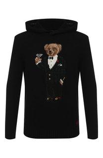 Шерстяной джемпер с капюшоном и принтом Polo Ralph Lauren