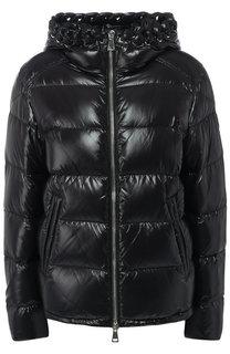 Стеганая куртка с капюшоном и воротником-стойкой Moncler