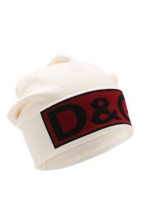 Шерстяная шапка с логотипом бренда Dolce & Gabbana