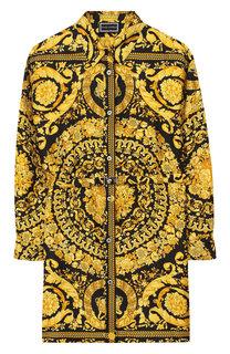 Шелковое платье-рубашка с поясом Young Versace