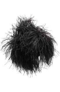 Шерстяная шапка с перьевой отделкой No. 21