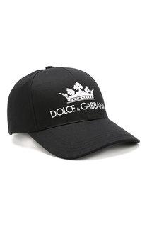 Хлопковая бейсболка с логотипом бренда Dolce & Gabbana