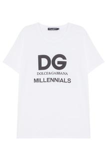 Белая хлопковая футболка Dolce & Gabbana