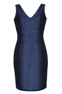 Синее платье без рукавов St. John