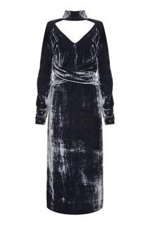 Серое бархатное платье Laroom