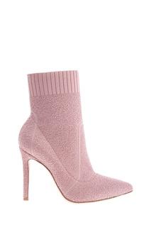 Розовые текстильные ботильоны Gianvito Rossi